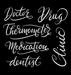 Clinic hand written typography vector