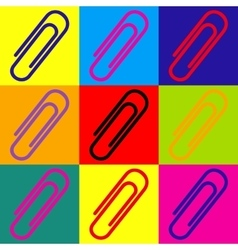 Clip sign Pop-art style icons set vector