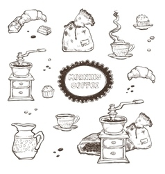 Coffee and dessert set Food vector image