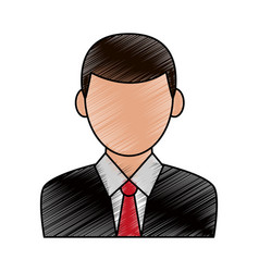 Color pencil cartoon half body faceless man with vector