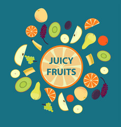 colorful organic fresh fruits set vector image