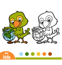 coloring book parrot and globe vector image