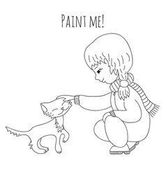 Coloring girl and cat vector
