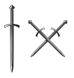 Crossed daggers in engraving style design element vector