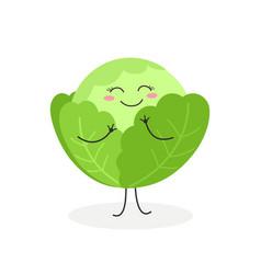cute cartoon cabbage vector image