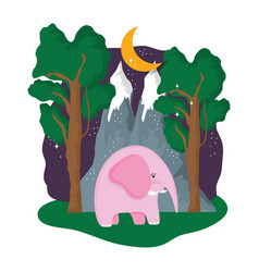 cute elephant pink in the landscape on the night vector image
