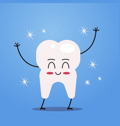 cute tooth cartoon character funny human dental vector image