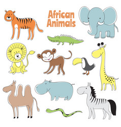 doodle animals african baanimal lion monkey vector image