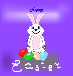 easter bunny and eggs with quote happy easter vector image