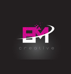 Em e m creative letters design with white pink vector