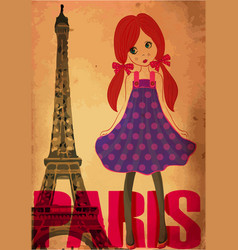 Fashion cute girl in paris vector