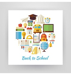 Flat Style Circle Set of Back to School and vector