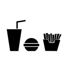 french fries burger and soda takeaway vector image