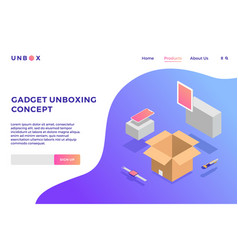 gadget unboxing isometric of box phone tablet vector image