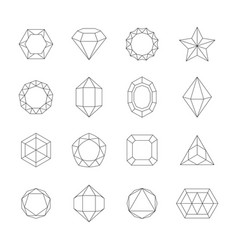 geometric outline crystals set contours of vector image