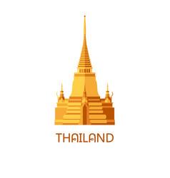 Golden buddhist wat temple in bangkok thailand vector