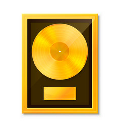 Golden vinyl in frame on wall collection disc vector
