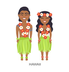 Hawaii male and female image vector