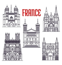 Historic buildings and sightseeings france vector