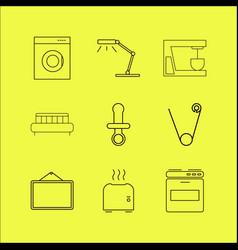 Home appliances linear icon set vector