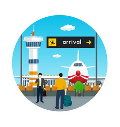 icon waiting room in airport with people vector image