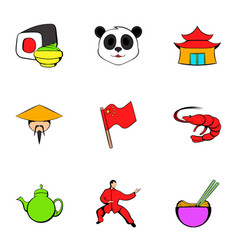 Japanese culture icons set cartoon style vector