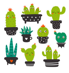kawaii cactus set without eyes for kids vector image