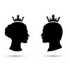 king and queen heads king and queen face vector image