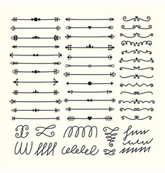 Lines borders and dividers hand drawn vector