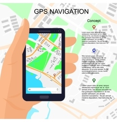 Location on smartphone in hand vector
