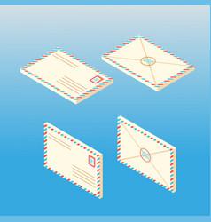 mail envelope set isometric vector image