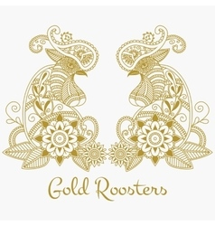 Mehendi Gold roosters vector