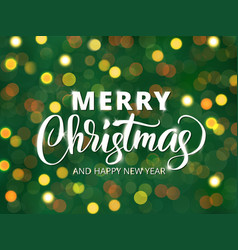 Merry christmas and happy new year text hand vector
