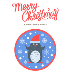 Merry christmas and happy winter days wish vector