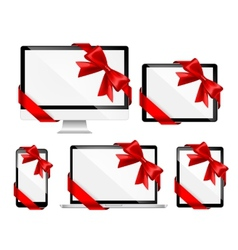 Modern devices with red bows vector image