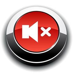 Mute 3d round button vector