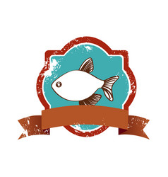 old heraldic borders with fish and label vector image
