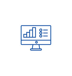 online data analysis report line icon concept vector image