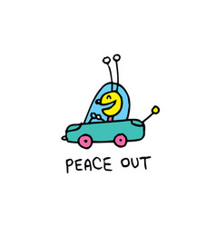 Peace out cute bug character vector