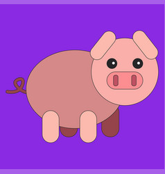 pig in cartoon flat style vector image