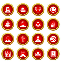 Religious symbol icon red circle set vector