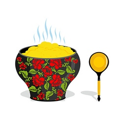 Russian pot of porridge National Folk wooden spoon vector