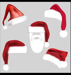 santa hat set icon symbol design christmas vector image