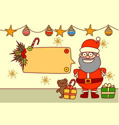 santa showing empty banner for text merry vector image