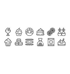 set 12 thin outline icons such as banana split vector image
