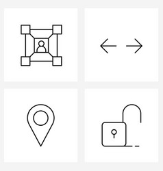 Set 4 line icon signs and symbols user vector