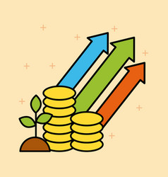 Set of finance and business growth investing vector