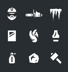 set of ice carving icons vector image