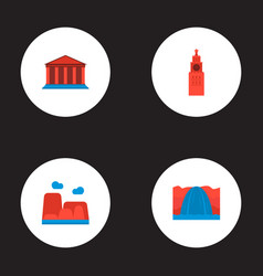 Set of landmarks icons flat style symbols with vector