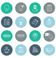 Set of linear dental icons Flat design vector image